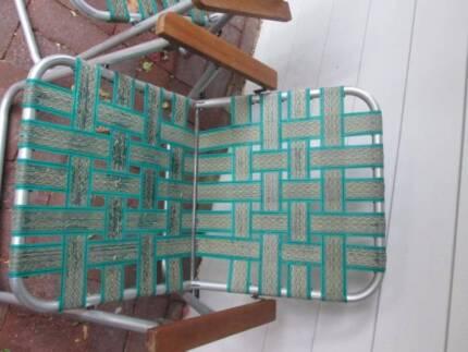 Picnic Chairs 60's old school vintage folding aluminium webbing Port Noarlunga Morphett Vale Area Preview