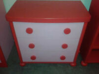 GOOD CONDITION, A NICE IKEA RED & PINK CHILD'S CHEST OF 3
