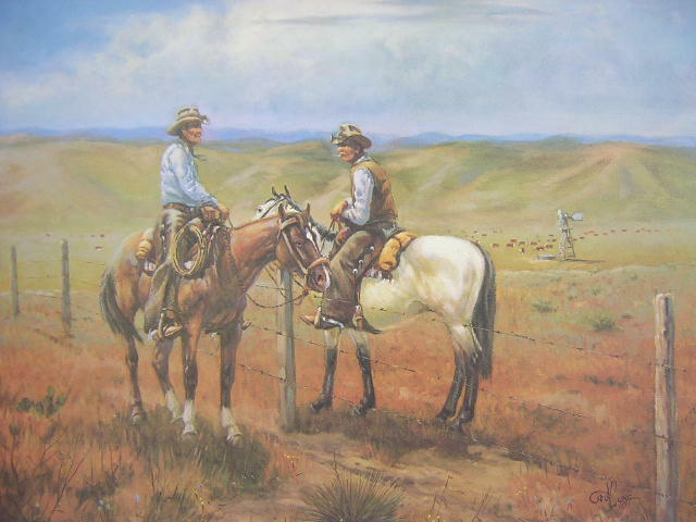 Ted Long Fence Line Gossips Cowboy Western Limited Edition Art Print