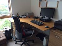 Corner office desk + filing cabinet