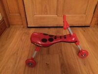 Scuttle Bug Ladybird Folding Tricycle, Red & Black