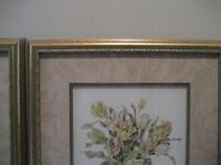 TWO BEAUTIFULY FRAMED AND MOUNTED PICTURES OF FLOWERS IN AN URN