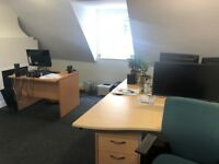 4 office desks in the shared office space