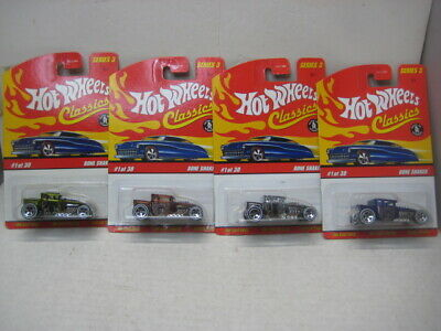 HOT WHEELS 2006 CLASSIC SERIES 3  MINT ON CARD LOT OF 4 BONE SHAKERS NO DUPES
