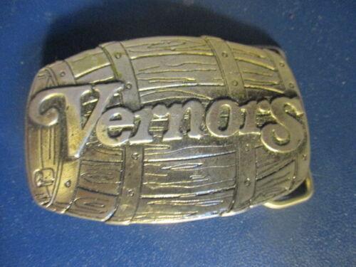 VERNORS GINGER ALE Barrel Shaped 1976 Pewter Belt Buckle Mint Condition DETROIT