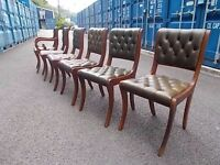 6 Stunning Chesterfield Leather Beresford & Hicks Green Buttoned Dining Chairs