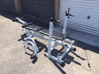 Weight bench workstation with various attachments