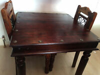 Solid Sheesham Wood Square Table and 2 Chairs