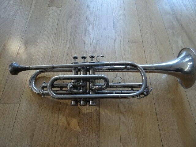 Fine Antique Silver Trumpet Horn With Conn 3A Mouthpiece
