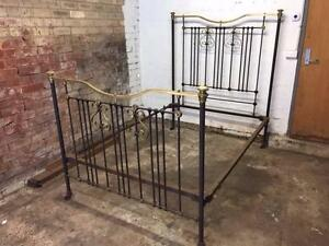 Antique Cast Iron & Brass double bed frame St Kilda Port Phillip Preview