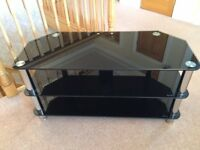 Black glass and chrome TV stand for sale
