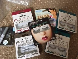 6 Brand New False Eyelash Sets with glue and remover