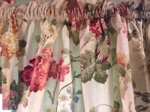 floral window dressings and rods