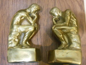 Vintage Brass bookends- Rodin's-The Thinker- Birks London Ontario image 9