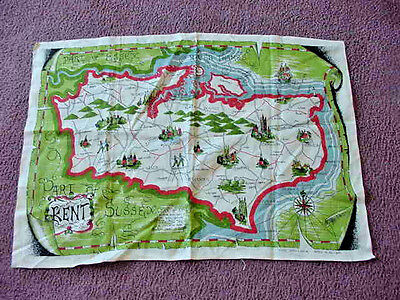 Pure Irish Linen Tea Towel Map of England Sussex Kent