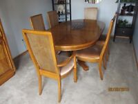 Solid oak dining pedestal table and hutch