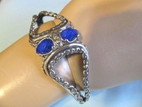 NEW CAROLYN POLLACK STERLING BOLD BLUE LAPIS DOUBLET SCROLL CUFF BRACELET ~LARGE