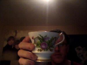 Floral Cape Breton Tea Cup & Saucer & Canso Causeway Saucer