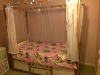 Girls Four Poster Bed with Curtains +Storage underneath and mattress