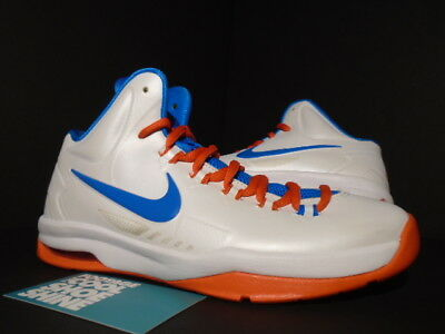 Nike Youth KD V White Orange Blue Kevin Durant Basketball Shoes 555642 101
