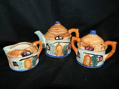vintage hand painted Cottage teapot cream & sugar Japan