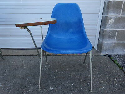 Vintage MCM Herman Miller DSS Eames Side Shell Stacking Chair with Flip up Desk, used for sale  Saint Louis