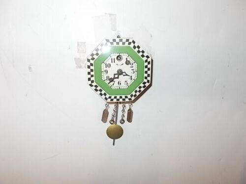 Lux  Keebler Green Checkered Border Miniature Pendulette Clock Circa. 1940