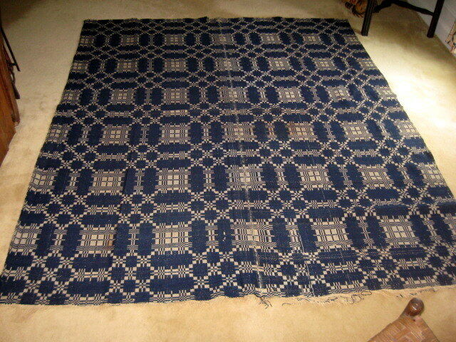 Antique Mid-1800s Wool Overshot Blanket Spread Coverlet Indigo & Cream 88x72 in.