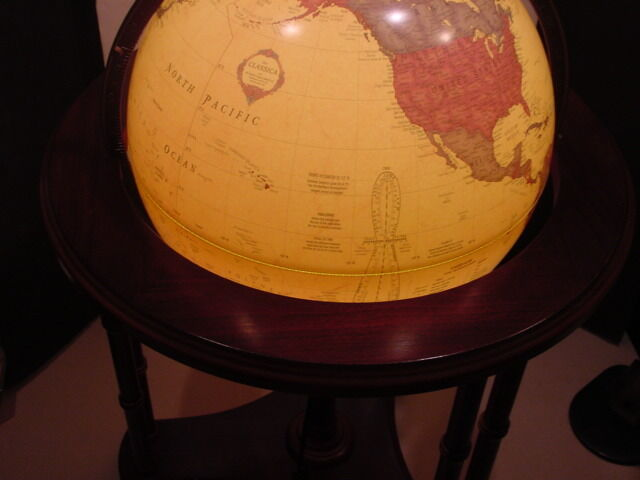 "George F Cram Classica World Globe 16"" / Lighted / Wood Stand on Casters"