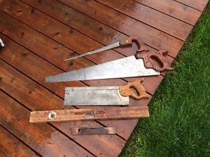 Warranted superior Disston saws and antique lever