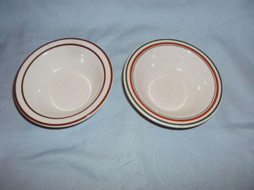 2 Vintage Buffalo China Restaurant Ware Sauce Dessert Bowls Green/Brown & Brown