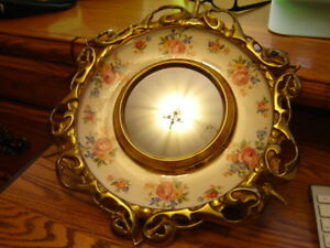 """Vintage Brass & Porcelain Accent Wall Mirror: """"Wade"""" England"""
