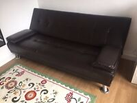 Elegant brown faux leather **Sofa Bed**, sofa that turns into a double bed, like NEW