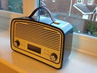 Portable DAB +FM radio/Alarm Clock. Retro style, Battery back-up, Aux-in Socket.