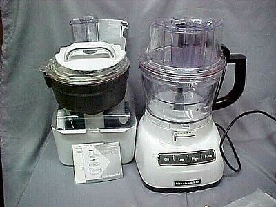 KitchenAid 13-Cup Food Processor wCommercial-Style Dicing Kit KFP1356WH & extras