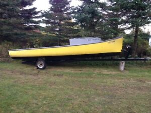 23 foot James Bay Freighter Canoe and trailer