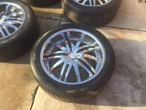 4 chrome 22 inch rims and tires dual 6 bolt