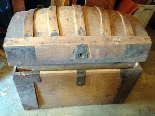 Antique Wood Camel Back Trunk w. tray, original metal trim, illustrated inside