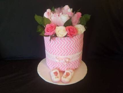 Pink Bouquet Nappy Cake with Hand Crocheted Booties - Baby Gift