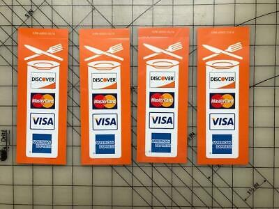 4 New Restaurant Credit Card Signs Visa Mastercard Discover Amex Stickers Decals