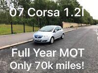 £1395 2007 Corsa Club 1.2l* like fiesta punto yaris micra corsa c1 aygo 107 getz polo,