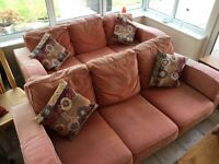 2 large comfy 3 seater sofas & foot stool - Sofa workshop - washable seat covers