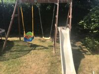 Wooden Double Swing Set with Slide + Multi-Stage Swing Seat