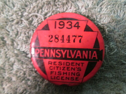 1934 Pennsylvania Fishing License Button Pin