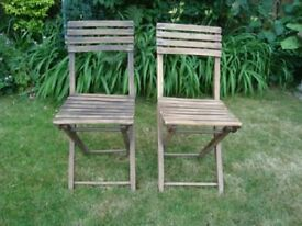 A PAIR OF VINTAGE WOODEN FOLDING CHAIRS (1 of 2 Pairs available)