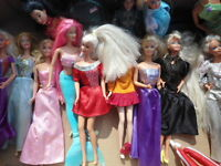 Barbies, Kelly Dolls, and Baby Set