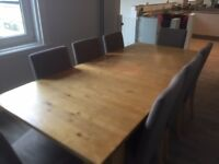 second hand Ikea dining table with 8 chairs