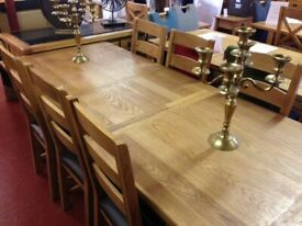 NEW Large thick solid oak 6ft extending to 7.5ft dining table & 6 Oak chairs £995