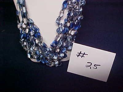 Hand Crocheted Ladder Trellis Ribbon Necklace #25 - Ocean - Blue/White - Lion](Ribbon Necklaces)