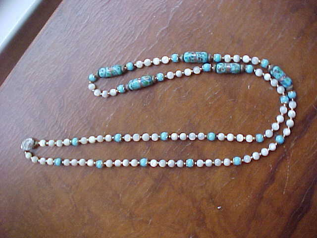 Murano glass light blue and white mother of pearl bead necklace